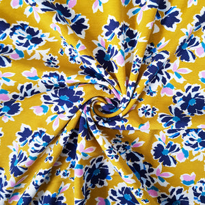 Painted Florals Cotton Jersey - Mustard