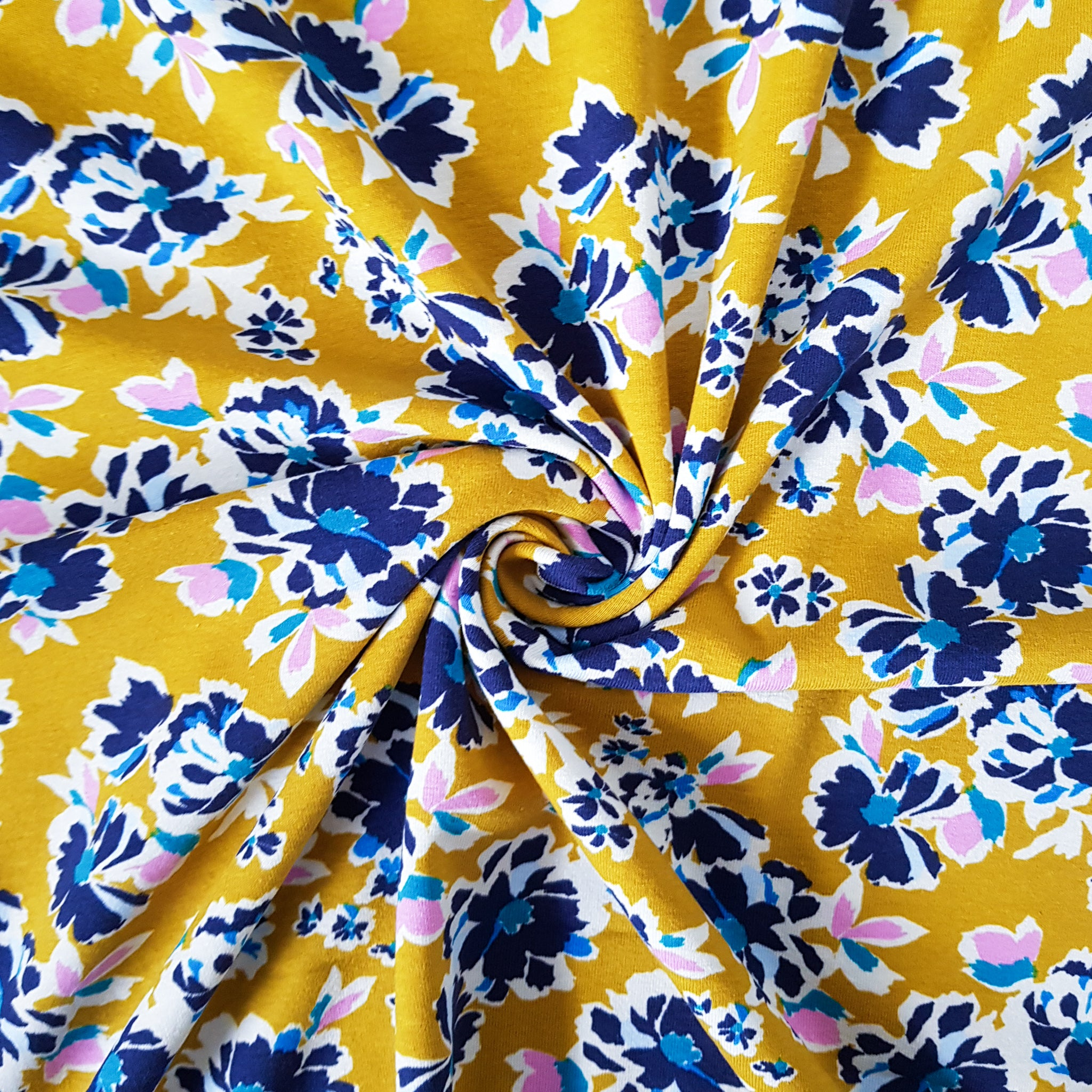 Painted Florals Cotton Jersey - Mustard - 77 CM END OF BOLT