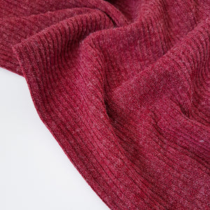 burgundy chunky rib knit fabric