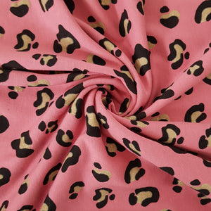 Leopard Glitter Cotton Jersey - Rose - 83 CM END OF BOLT