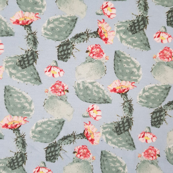 Watercolour Succulents Cotton Jersey