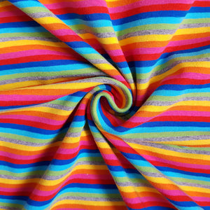Rainbow Stripe Cotton Jersey - END OF BOLT - 93CM