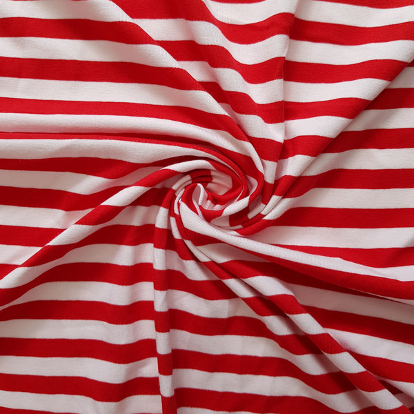 White and Red Breton Stripe Cotton Jersey