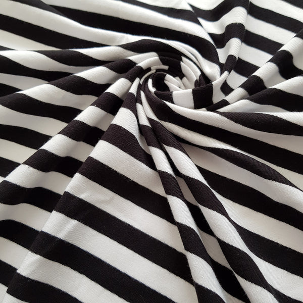 White and Black Breton Stripe Cotton Jersey