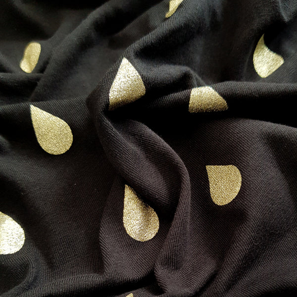 gold teardrop jersey fabric