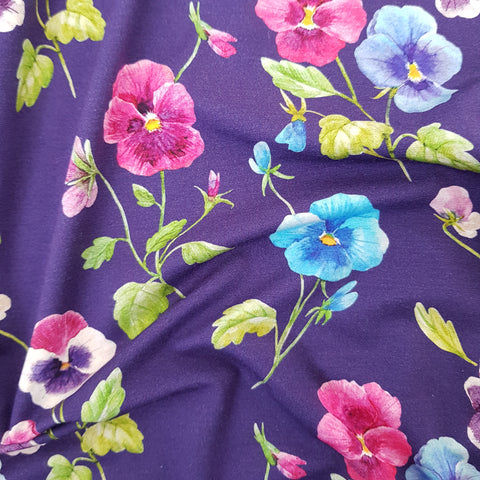 Bright Pansies Viscose Jersey - END OF BOLT - 86CM
