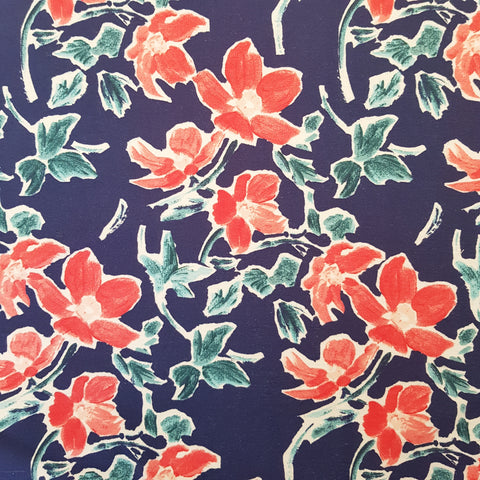 Painted Blooms Cotton Loopback Print French Terry