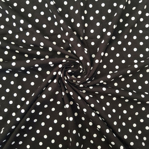 Polka Dot Black Cotton Jersey