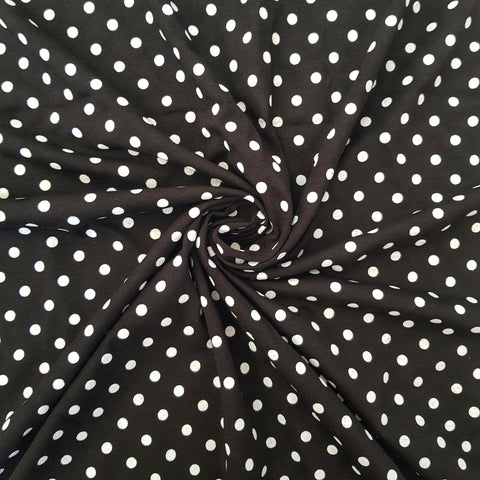 Polka Dot Black Cotton Jersey - END OF BOLT 73CM