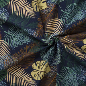 jungle leaves navy french terry fabric
