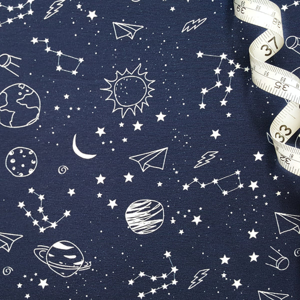 Galaxy Navy Cotton Jersey - 48 CM END OF BOLT