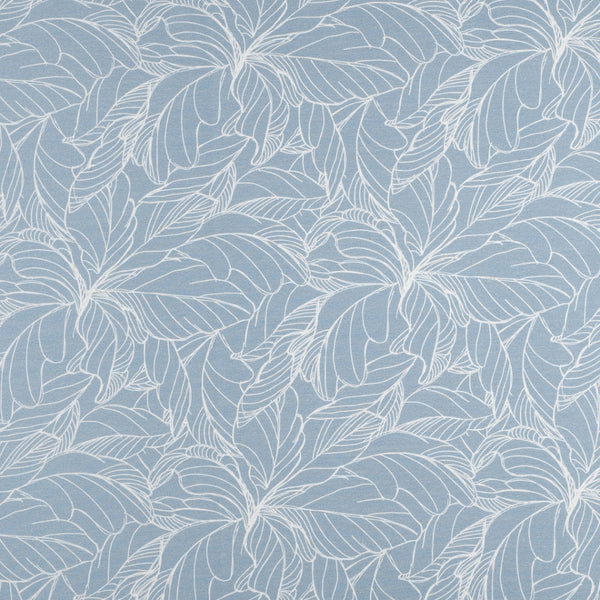 Light blue flowers and leaves french terry stretch jersey