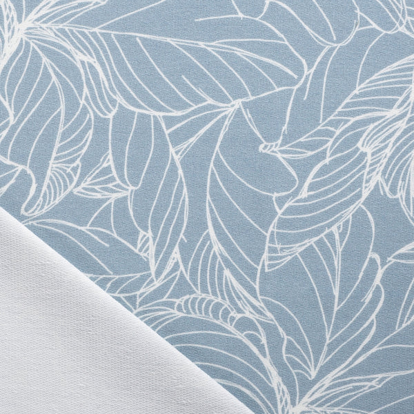 Grey Blue Print French Terry Fabric - Leaves and Flowers