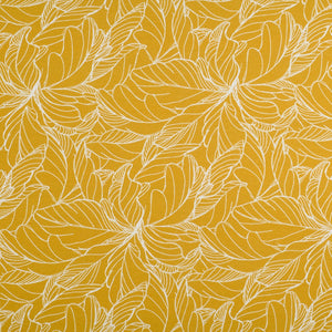 Mustard Honey Ochre Yellow French Terry - Digital Print Leaves