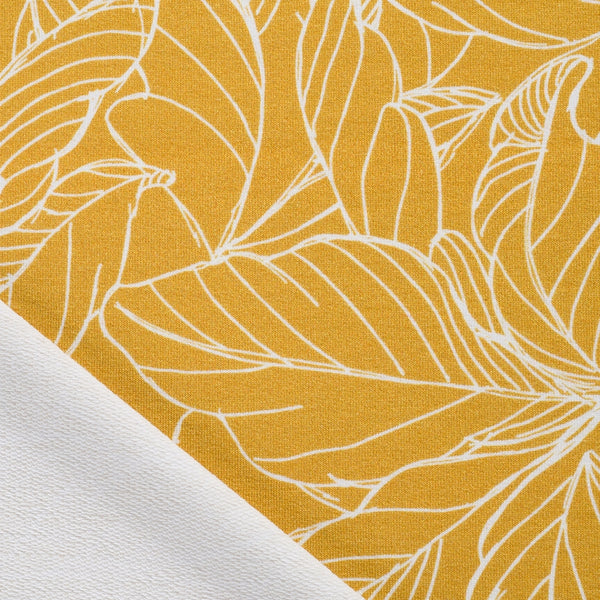 Honey Yellow French Terry - Digital Print Leaves