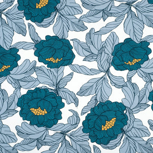 blue flowers french terry jersey knit fabric