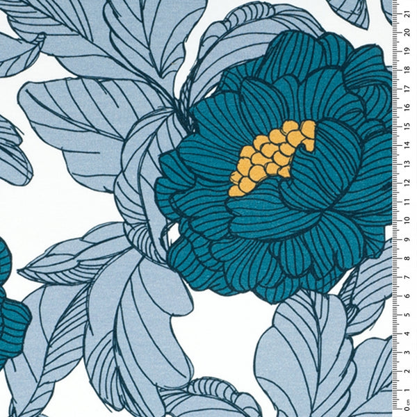 botanical print blue french terry fabric