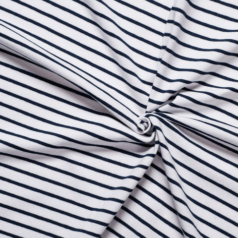 navy and white stripe cotton jersey knit medium weight