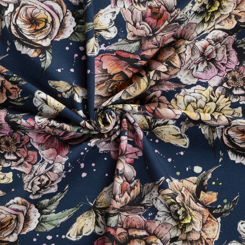 peonies flowers on navy background jersey fabric