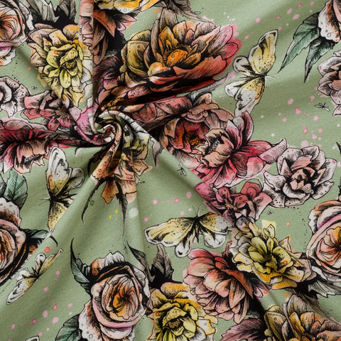 sage green floral jersey fabric