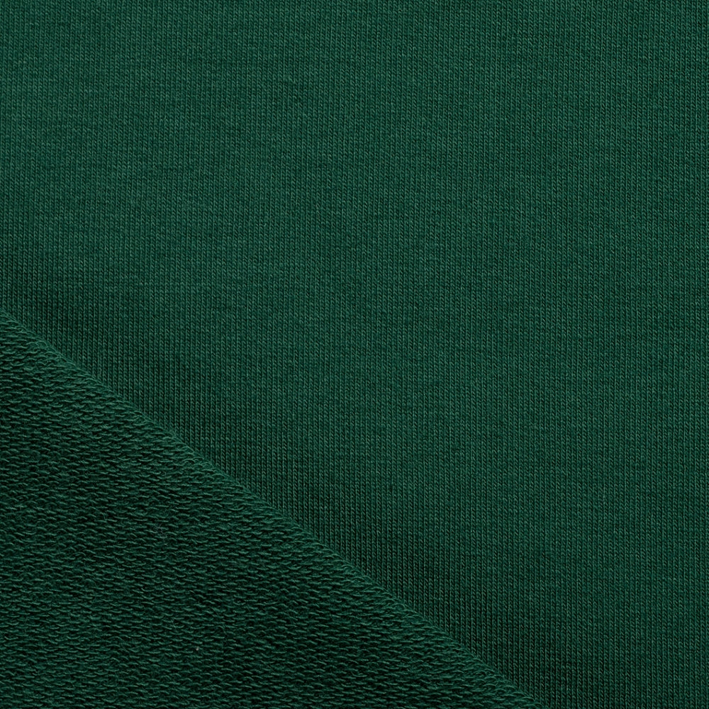 bottle dark green french terry sweatshirt jersey fabric