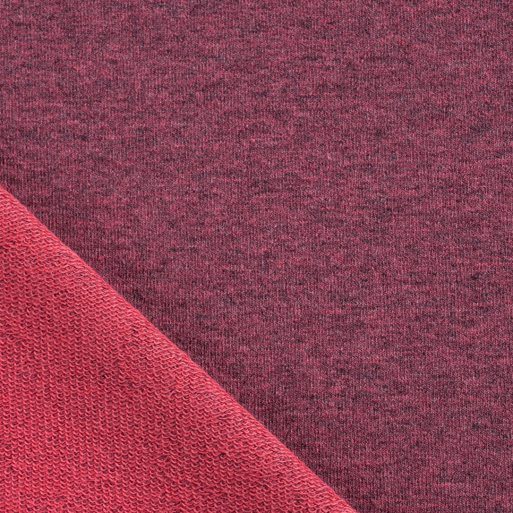 red melange french terry loopback jersey knit fabric