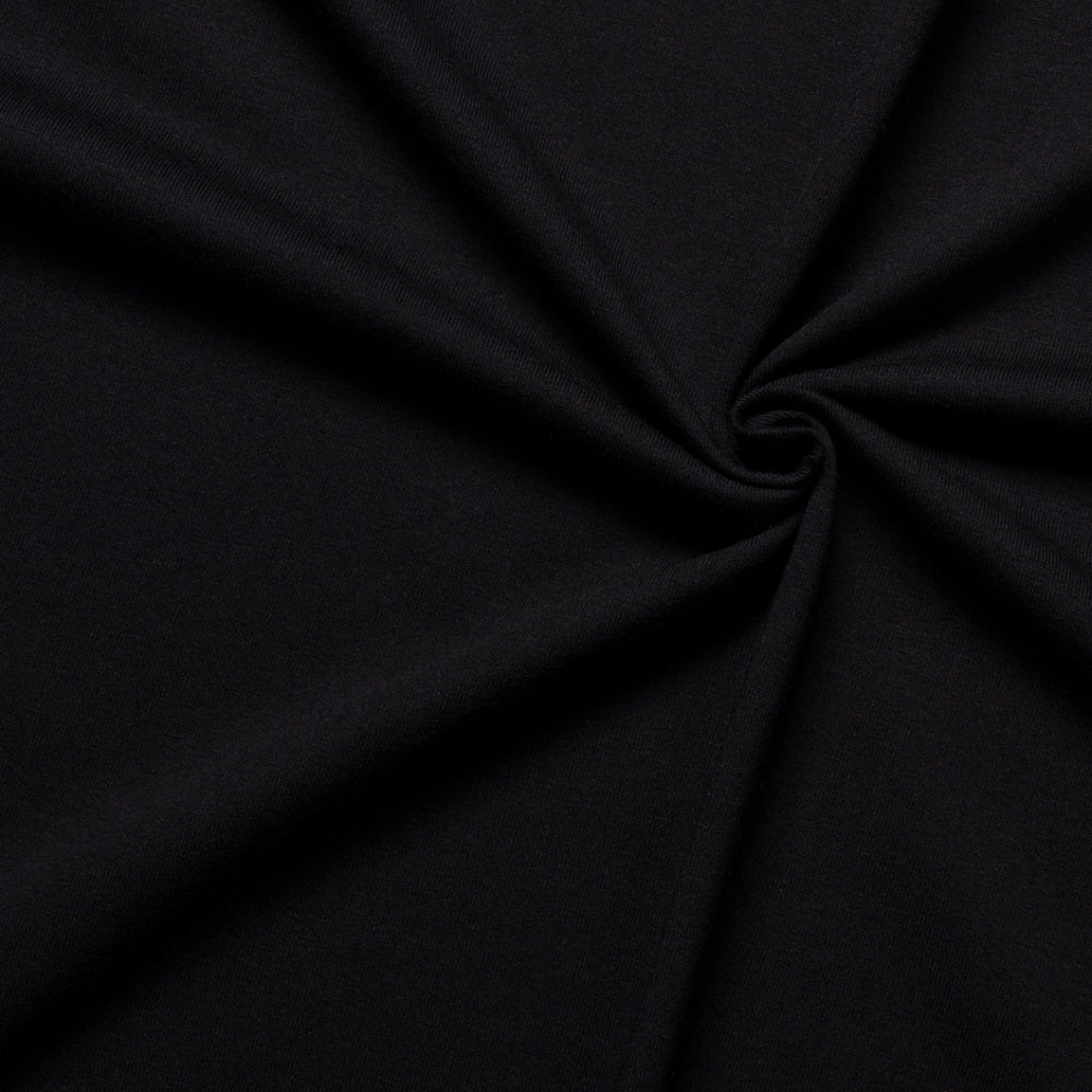black cotton jersey fabric medium weight