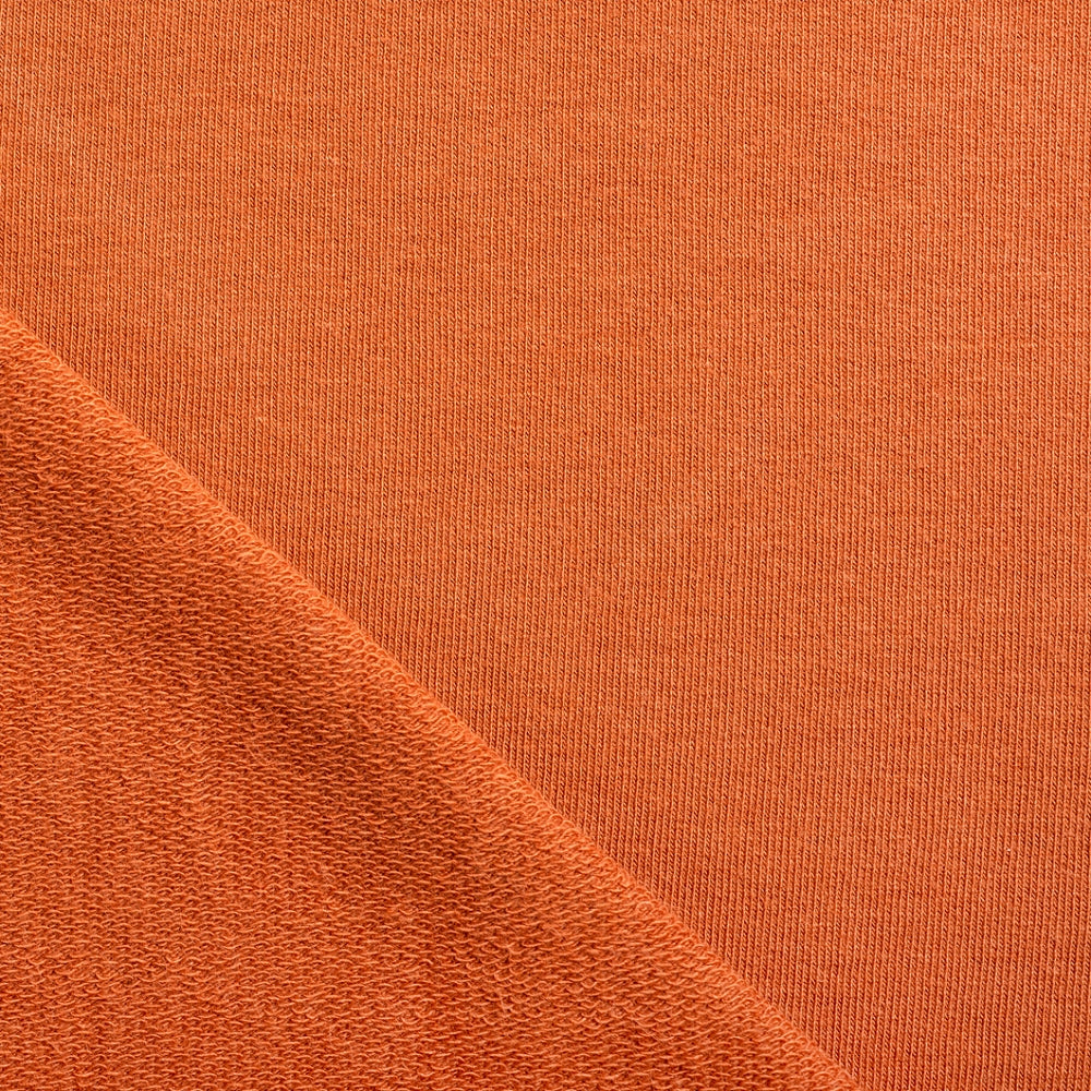rust french terry fabric