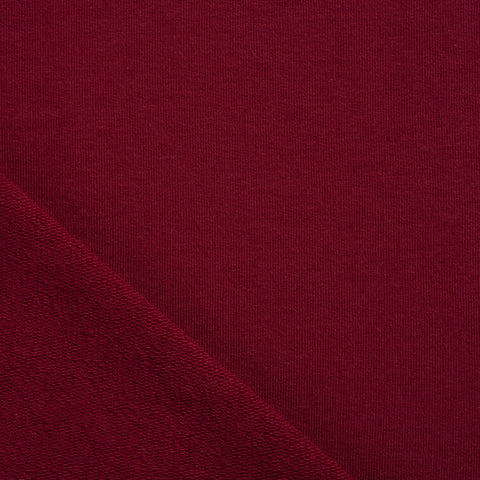 burgundy french terry cotton sweatshirt jersey fabric