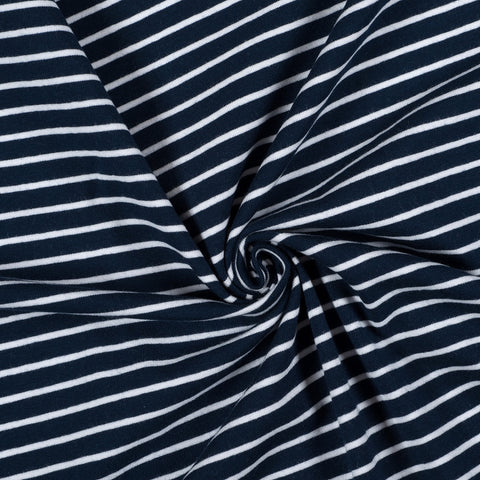 White and Dark Navy Classic Stripe Cotton Jersey - Extra Wide