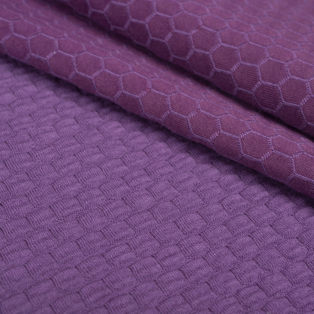 quilted jersey fabric double sided knit purple