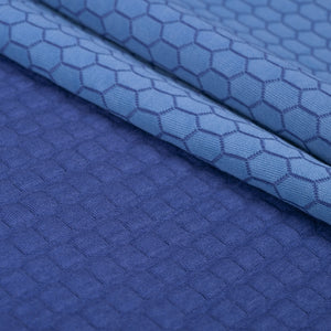 quilted jersey double sided interlock knit blue