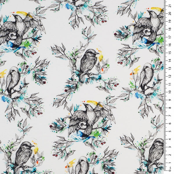 Bird Print Lycra Jersey Knit Fabric on White