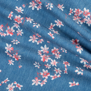 chambray fabric with cherry blossom print