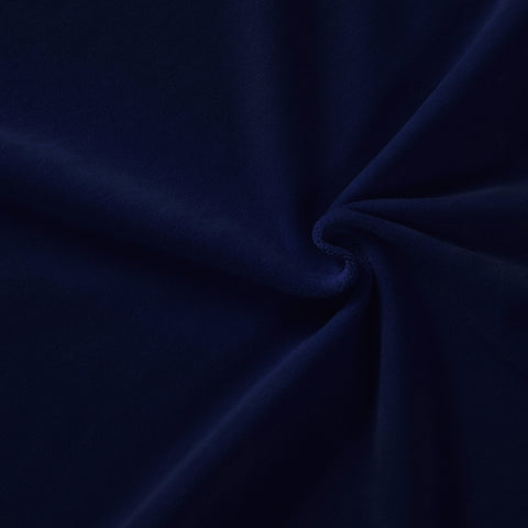 navy blue stretch velvet cotton rich knit fabric