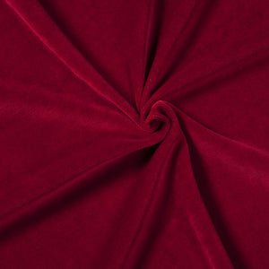 stretch velvet ruby red cotton velour knit fabric