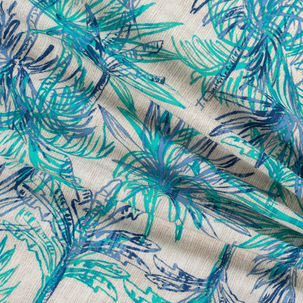 turquoise palm tree viscose fabric