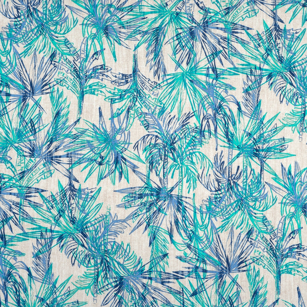 Turquoise Palm Trees Viscose - 93CM - END OF BOLT