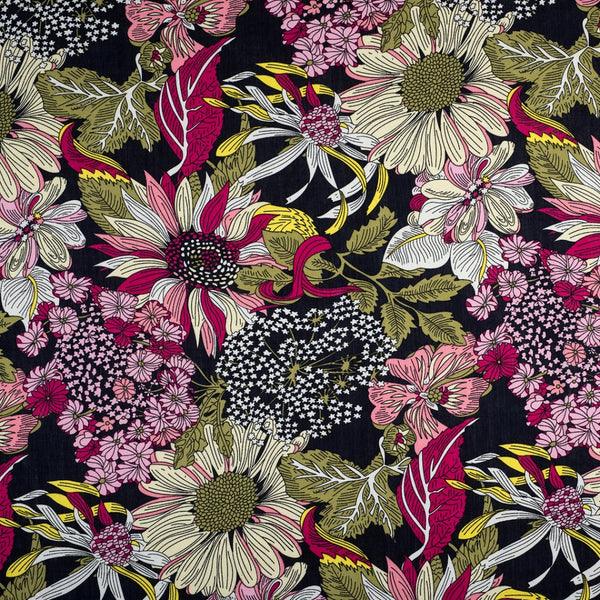 Summer Garden Viscose - Navy