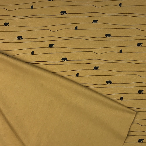bear print cotton jersey - Mustard
