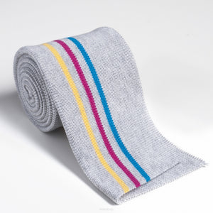 Cotton Knit Folded Cuff - Striped Grey Melange