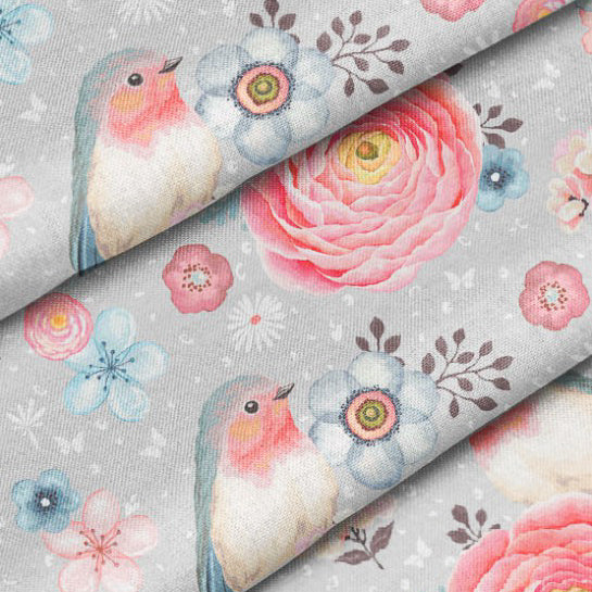 Birds and Roses Cotton French Terry