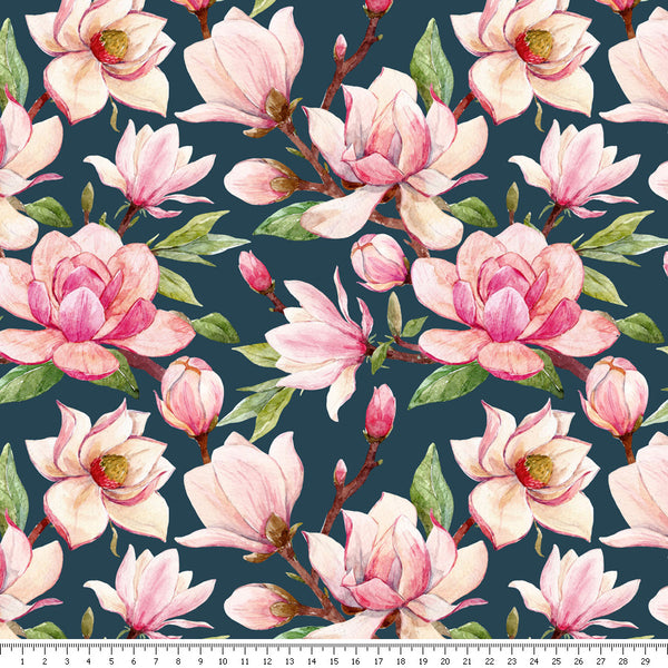 Magnolia Tree Viscose Jersey - END OF BOLT - 91CM