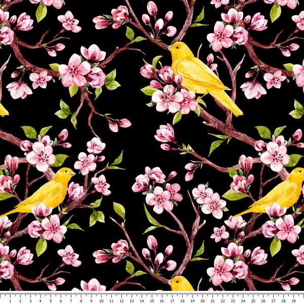 Canaries & Blossom Viscose Jersey - END OF BOLT - 97CM