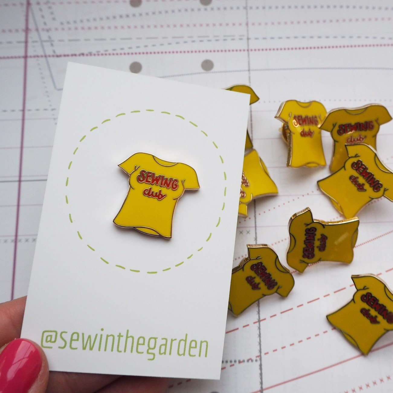 sewing club enamel pin yellow