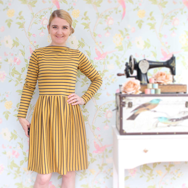 Mustard Yellow Stripe French Terry - 111 CM END OF BOLT