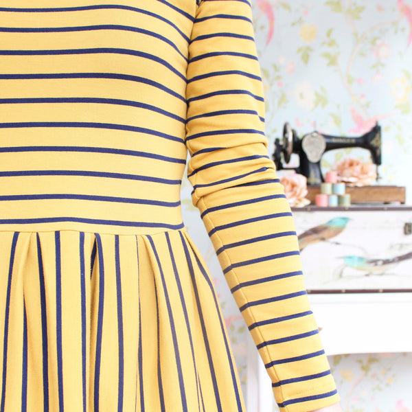 Mustard Yellow Stripe French Terry - 113 CM END OF BOLT