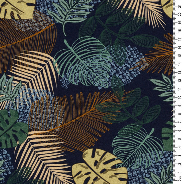 autumn jungle leaves loopback jersey fabric