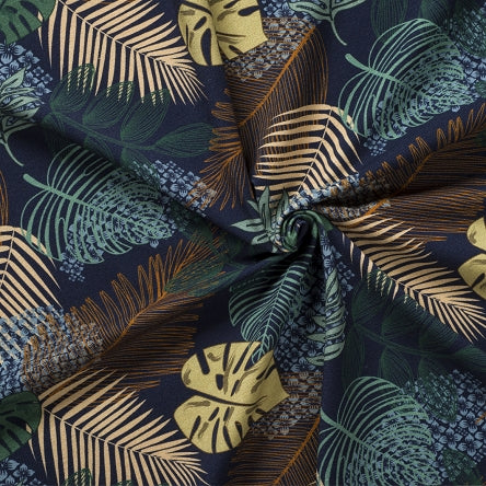 navy cotton jersey with jungle leaves print