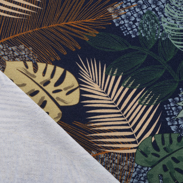 navy monstera leaf knit fabric